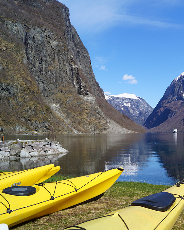 Kayaking in Gudvangen on Naeroyfjorden
